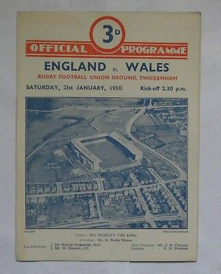 England Wales Rugby Union Programme 1950