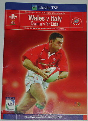 Wales Italy Rugby Union Programme 2002