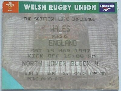 Wales England Rugby Union Ticket 1997