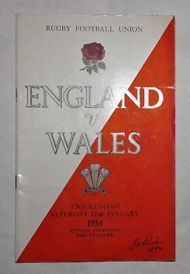 England  Wales Rugby Union Programme 1954