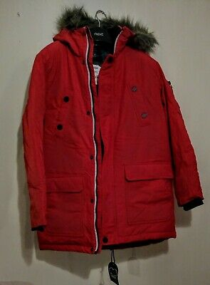 New Next Boys Thick Red Winter Coat Shower Resistant Jacket Age 12 Years Bnwt