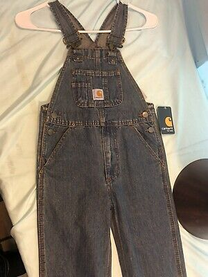 Youth New Carhartt Sanforized Blue Overalls Sz.4 Cm8624