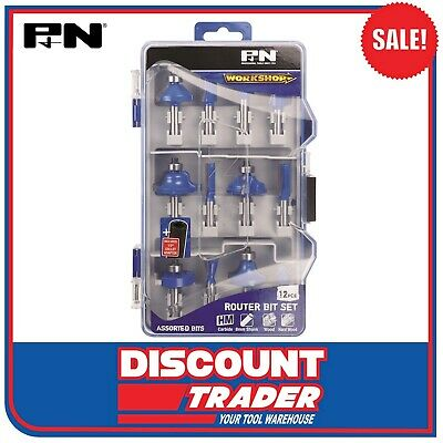 P & N by Sutton Tools WorkShop 12Pc Assorted Carbide Router Bits Set - 149060001