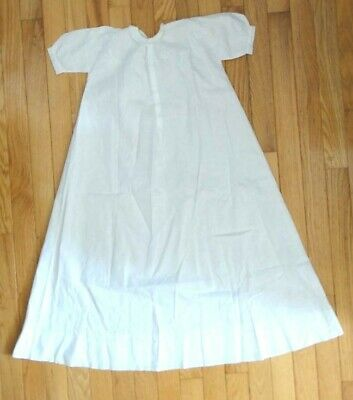 c1900 antique BABY CHRISTENING/BAPTISM DRESS LINEN EMBROIDERED w/LACE