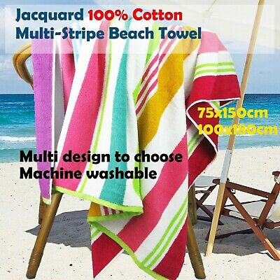 Jacquard Egyptian Cotton Multi-Stripe Beach Towel Rainbow Colour Quick-Dry