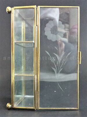 vintage BRASS GLASS MIRROR TRINKET BOX footed etched floral lid 3 sections