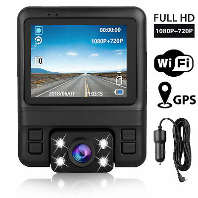 Dual Lens HD 1080P Camera Dash Cam Built-in GPS & Wifi Night Vision G-Sensor WDR