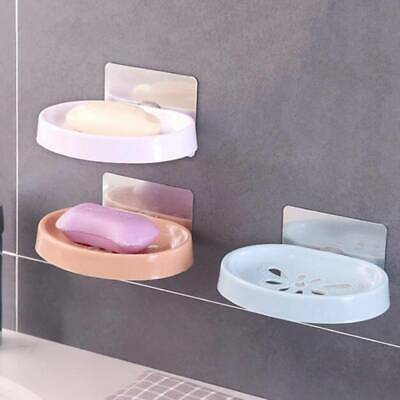 Plastic Wall Mount Soap Dish Plate Bathroom Soap Box Drainer Rack Soap Tray LD