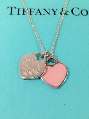 "Tiffany & Co Necklace Pink Enamel Double Mini Hearts Silver 16""L"