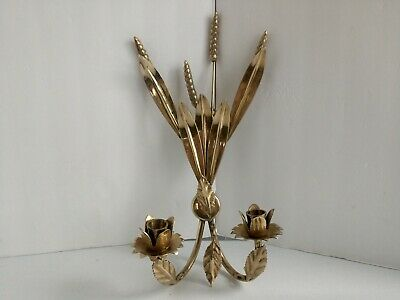 VTG Mid Century Brass Sconce Wall Taper Candle Holders  Flowers Wheat Leaves