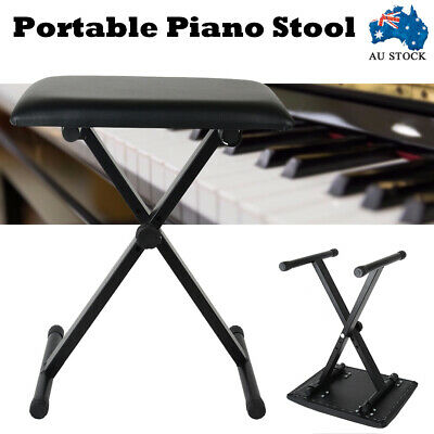 Adjustable 3 Way Portable Piano Keyboard Stool Folding Chair Seat Bench Black AU