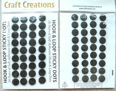72 Pairs of Self Adhesive Hook & Loop Sticky Dots in Black NEW