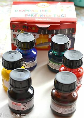 6 x 20g Bottles Coloured Permanent Drawing Inks for Artists NEW