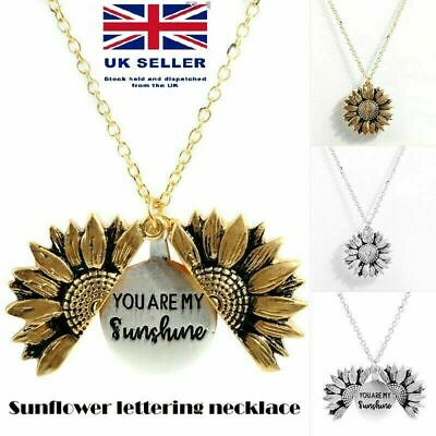 Clavicular Chain Men You Are My Sunshine Pendant Open Locket Necklace Sunflower