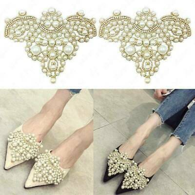 1 Pair Pearl Flower Shoe Clip With Rhinestone Iron on Patch Badge Applique Acces