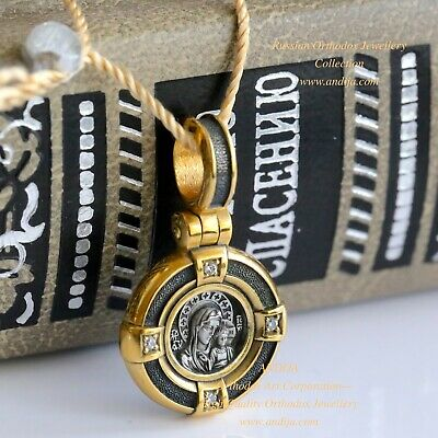 Orthodox Russian Pendant-Mother Of God Kazan Icon Silver 925+999 Gold Medal New