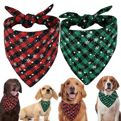 Adjustable Pet Dog Cat Bandana Collar Neckerchief Check Snowflake Scarf Decor UK