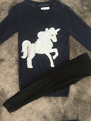 Girls Blue Zoo Jumper And Primark Leggings Age 2-3yrs