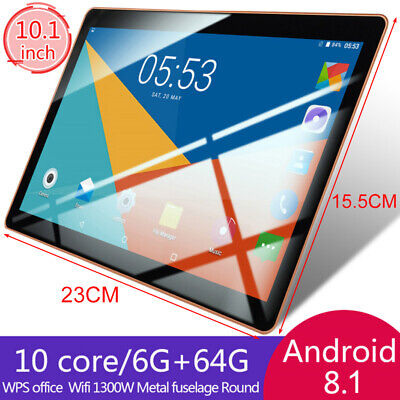 "UK 10.1"" Tablet PC Android 8.1 6GB+64GB 10 Core WIFI Dual SIM Camera bluetooth"