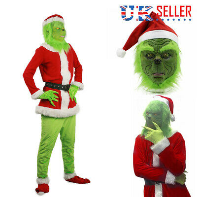 HOT The Grinch Mask Adult Costume Cosplay How the Grinch Stole Christmas Outfits