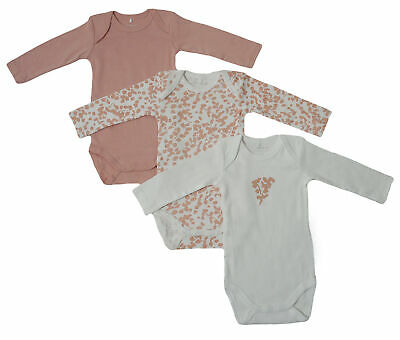 3er SET BODY Name It Baby Kinder Mädchen langarm Bodys Einteiler rose