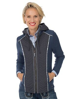 Spieth Wensky Traditional Outdoor Jacket Hameln Walk / Quilted Hood Jeans Blue