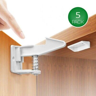 5pc Child Safety Cabinet Locks Self Adhesive Invisible Drawer Lock Latches ABS