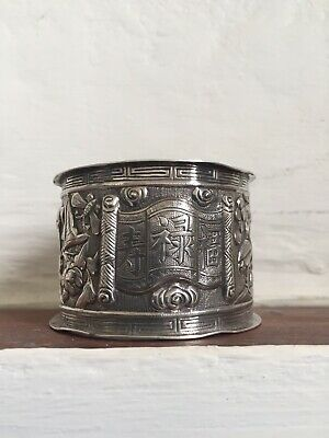Fabulous Antique CHINESE NAPKIN RING STERLING SILVER Floral Tree Birds & Insec