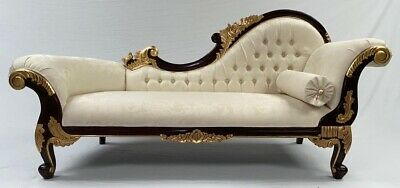 Large Right Hand Ornate French Chaise Longue Black W Gold Details Cream Fabric