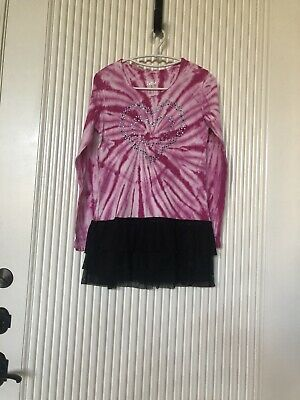 Justice Beautiful Pink/ Black Dress (one piece) for Girls Size 18