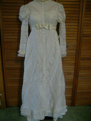 Alfred Angelo vintage  60s 70s WEDDING DRESS sz XXS FLAWS lace retro Victorian