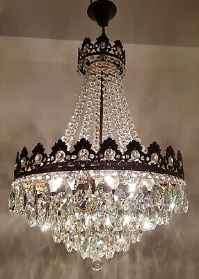 Antique Vintage Brass & Crystals French GIANT Chandelier Lighting Ceiling Lamp