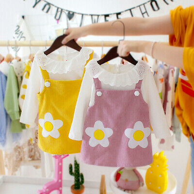 2Pcs/Set Baby Girl Corduroy Pullover Top Floral Suspender Dress Jumper Outfit