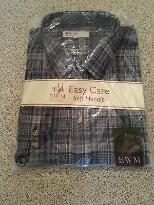 "BNIP EMW Classics Brushed Cotton Check Shirt in a Grey Mix Sz UK L 41-43"" Chest"
