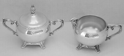 Vintage Wm Rogers Silver Plated Creamer & Sugar Bowl With Lid, Vgc, Free Ship