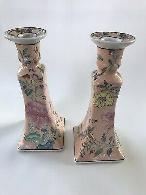 Pair Of Pale Pink Asian Ceramic Candle Holder