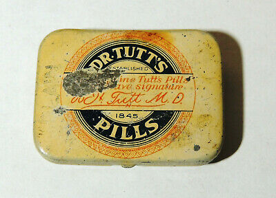 rare Dr. TUTT'S Pills Laxative Small TIN Antique vtg 1928 Quack Medicine Aspirin