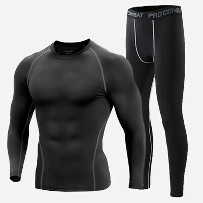 Mens Compression Thermal Base Layer Long Shirt Tops Pants Training Workout GYM