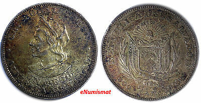 El Salvador Republic Silver 1908 C.A.M. 1 Peso, Colon Nice Toned KM# 115.1