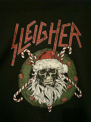 SLAYER Sleigher Christmas Skull Rock Sweat Reprint Black Men S-4XL T-shirt K739