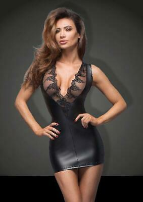 Power Wetlook Mini Dress With Lace Cleavage in Black by Noir - Australian Stock