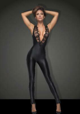 Sleeveless Power Wetlook Overall With Lace in Black by Noir - Australian Stock