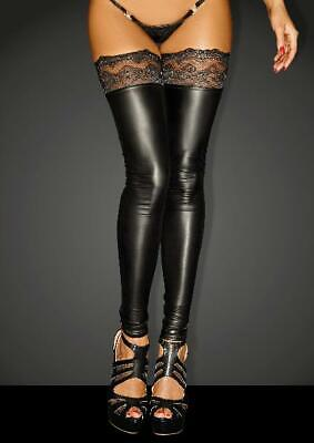 Power Wetlook Stockings With Siliconed Lace in Black by Noir - Australian Stock