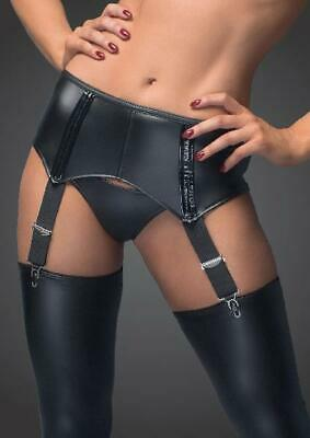 Power Wetlook Garter Belt With Back Lacing in Black by Noir - Australian Stock