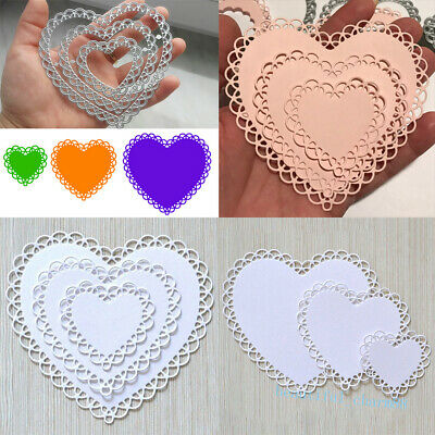 Heart Lace Hollow Frame Metal Cutting Dies Stencil DIY Scrapbooking Paper Card