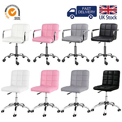 Office Chair with Armrest Padded Swivel Chair PU Leather Comfy Computer Chair UK