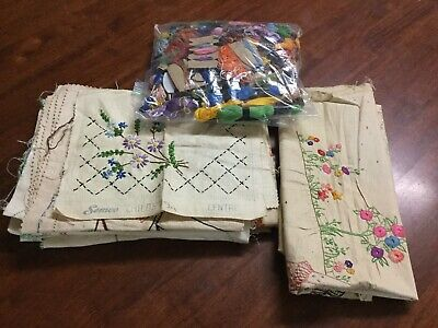 Bulk Lot Of Vintage Doilies To Embroider + Cotton Skeins & More - Semco
