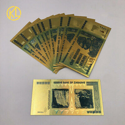 1pc $100 One Hundred Trillion Dollar Zimbabwe Colored Gold Banknote Collectible