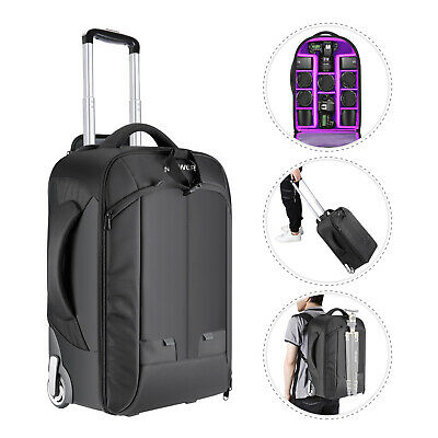 Neewer Convertible Wheeled Camera Backpack Luggage Trolley Case Black/Purple