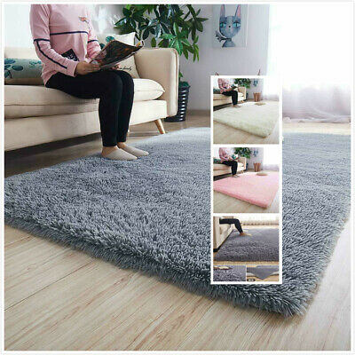 Fluffy Rugs Anti-Slip SHAGGY RUG Super Soft Carpet Mat Living Room Floor C